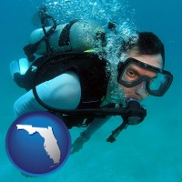 florida map icon and a scuba diver