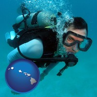 hawaii map icon and a scuba diver