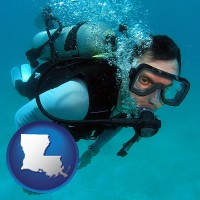 louisiana map icon and a scuba diver