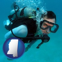 mississippi map icon and a scuba diver