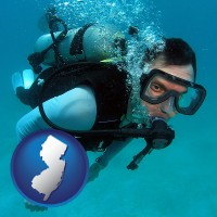 new-jersey map icon and a scuba diver