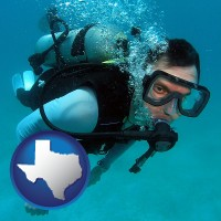 texas map icon and a scuba diver