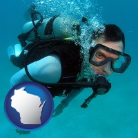 wisconsin map icon and a scuba diver