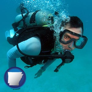 a scuba diver - with Arkansas icon
