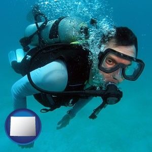 a scuba diver - with Wyoming icon